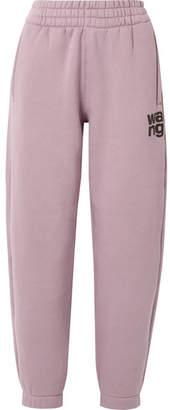 Alexander Wang Printed Cotton-blend Fleece Track Pants - Lilac