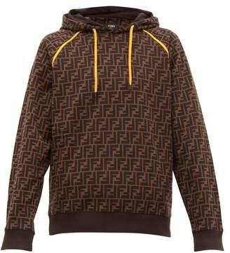 Fendi Ff Print Cotton Hooded Sweatshirt - Mens - Brown