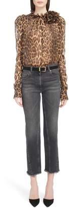 Magda Butrym Ruffle Neck Leopard Print Silk Blouse