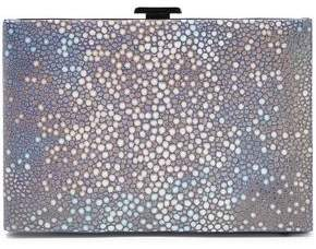 Halston Metallic Stingray-effect Brushed-leather Box Clutch