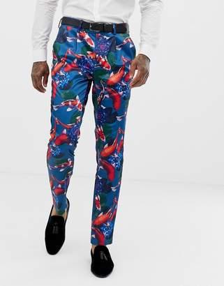 Asos DESIGN skinny tuxedo suit pants in fish print