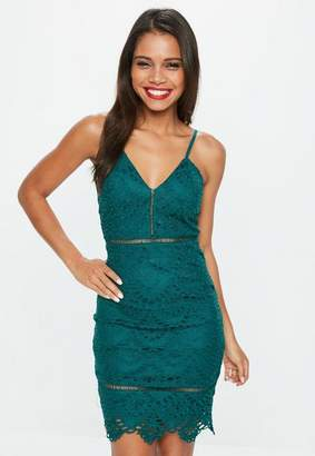 Missguided Teal Lace High Neck Strappy Bodycon Dress