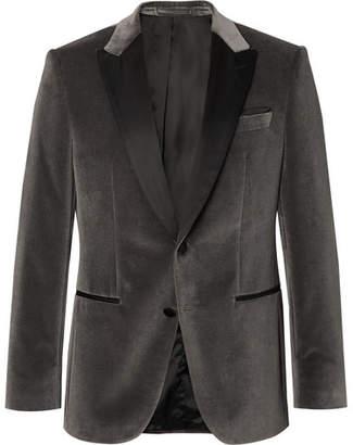 fc4e2e66fde HUGO BOSS Anthracite Helward Slim-Fit Satin-Trimmed Cotton-Velvet Tuxedo  Jacket