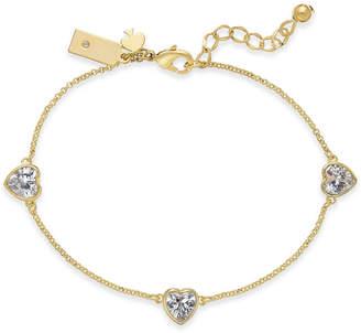Kate Spade Gold-Tone Crystal Heart Link Bracelet