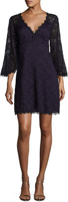 Nanette Lepore Bell-Sleeve Floral Lace Mini Dress, Eggplant