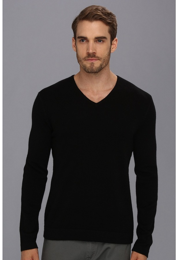 John Varvatos Collection - Cashmere V-Neck Sweater w/ Elbow Patches (Black) - Apparel