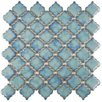 EliteTile SAMPLE - Pharsalia Porcelain Mosaic Floor and Wall Tile in Glossy Marine
