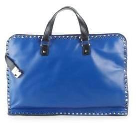 Valentino Zip Leather Briefcase