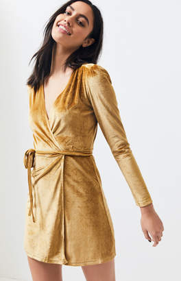 Charlie Holiday Crushed Velvet Wrap Dress