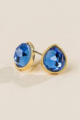 francesca's Sasha Glass Teardrop Stud Earrings - Navy