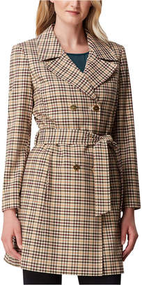 Tahari ASL Petite Plaid Double-Breasted Belted Trench Coat