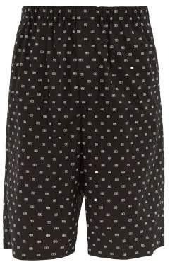 Balenciaga Bb Print Cotton Shorts - Mens - Black White