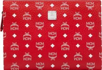 MCM Zip Pouch In White Logo Visetos