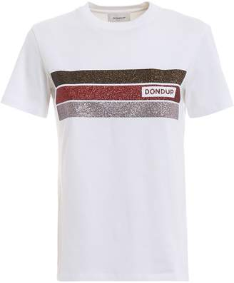 Dondup White T-shirt With Glittered Bands