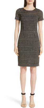 St. John Shimmer Rectangle Jacquard Knit Dress
