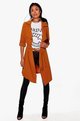 boohoo Maisie Waterfall Belted Trench $46 thestylecure.com
