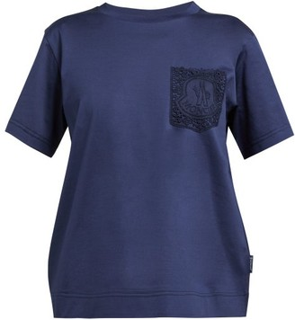 Moncler Lace Pocket Mercerised Cotton T Shirt - Womens - Navy