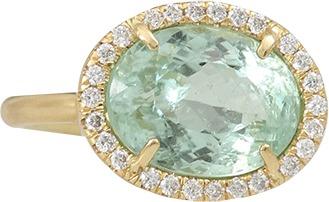 Irene Neuwirth JEWELRY Green Tourmaline Ring With Diamond Pave
