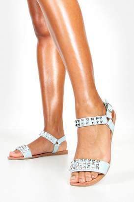 boohoo Pyramid Stud Flat Sandals
