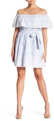 Cynthia Steffe CeCe by Off-the-Shoulder Embroidered Stripe Dress