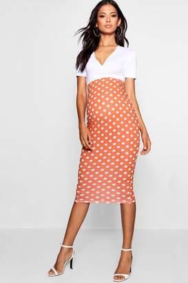 boohoo Maternity Over The Bump Spot Midi Skirt