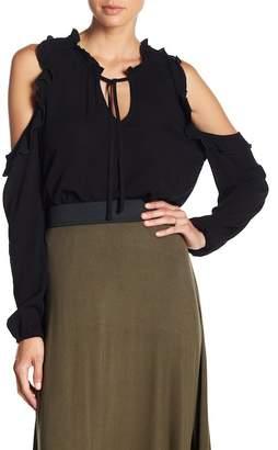 BB Dakota Ann Ruffle Cold Shoulder Shirt