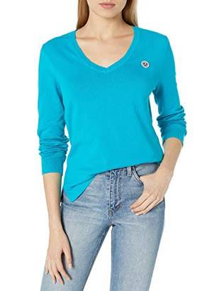 Armani Exchange A|X Women's Long Sleeved Scoop Neck T-Shirt with Icon on Chest
