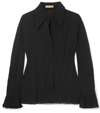 Michael Kors Ruffled Crinkled-silk Crepe De Chine Blouse - Black