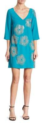 Trina Turk Glitterati Embellished Silk Shift Dress $428 thestylecure.com