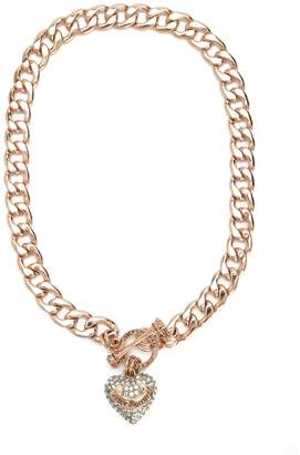 Juicy Couture Pave Heart Banner Logo Starter Necklace