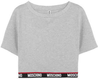 Moschino Cropped Cotton-blend Fleece Top - Gray