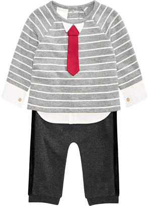 First Impressions Baby Boys 2-Pc. Striped Necktie Top & Jogger Pants Set