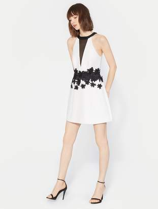 Halston Floral Embroidered Dress