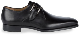Magnanni Almond Toe Leather Monk Strap