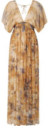Mes Demoiselles Arizona Open-back Gathered Crinkled-chiffon Maxi Dress - Saffron