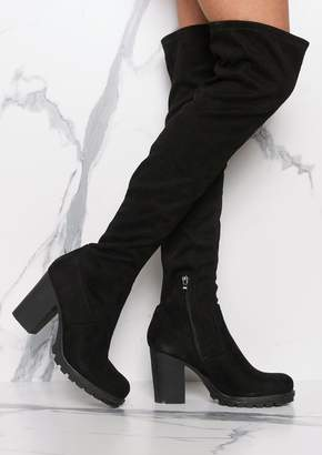 22dab03224c Missy Empire Missyempire Odette Black Suede Thigh High Heeled Boots