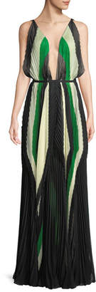 Tre by Natalie Ratabesi Art Deco Plunging Sleeveless Pleated Chiffon Gown