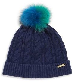 Burberry  Burberry Cable-Knit Wool, Cashmere & Fox Fur Beanie
