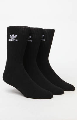 adidas Trefoil 6 Pack Black and White Crew Socks