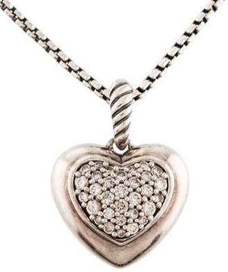 David Yurman Diamond Cable Heart Pendant Necklace