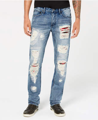 INC International Concepts I.n.c. Men's Slim-Straight Fit Plaid-Patched Destroyed Jeans
