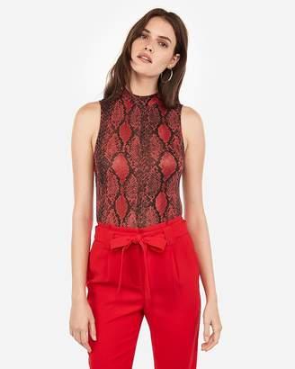 Express Snakeskin Print Thong Bodysuit
