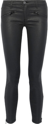 Current/Elliott - The Soho Coated Low-rise Skinny Jeans - Black $250 thestylecure.com