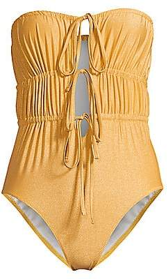 Solid and Striped Women's The Paula Ruched Tie-Front One-Piece Swimsuit