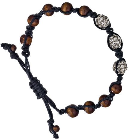 Blu Bijoux Brown And Black Multi Bead Shamballa Bracelet