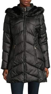 Gallery Faux-Fur Trimmed Chevron A-Line Puffer Coat