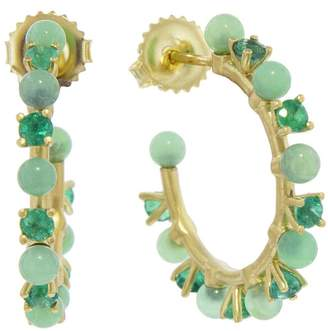 Irene Neuwirth 3mm Green Chrysoprase Sphere and Emerald Hoop Earrings