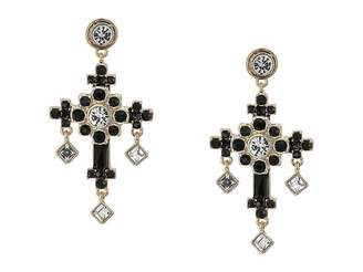 GUESS Stone Ornate Cross Drop Earrings