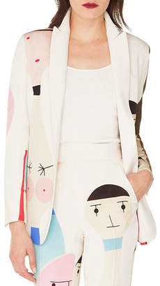 Akris Salvador No-Closure Doll-Print Silk Crepe Jacket