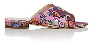 Barneys New York Women's Floral Satin Brocade Slide Sandals - Pink